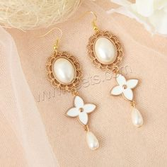 Plastic Pearl Zinc Alloy Earring, with ABS Plastic Pearl.