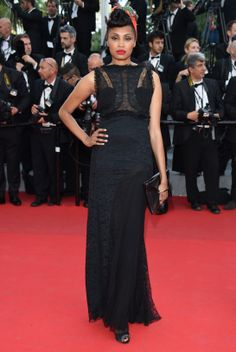 Cannes Film Festival Imany in Nina Ricci Spring / Summer 2014 and Christian Louboutin heels