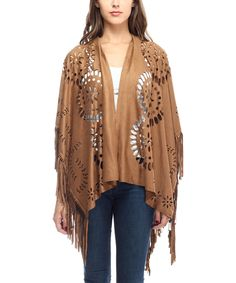 Love this Justin Taylor Brown Perforated Fringe-Trim Long Shawl by Justin Taylor on #zulily! #zulilyfinds