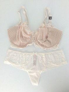72eaf0c7ba0 VICTORIA SECRET Dream Angel Dot Lace Wicked Unlined Uplift Bra/Panty Set  38DDD/L