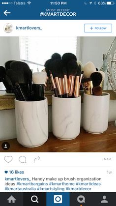 Cannisters for makeup brushes etc