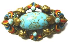 Czech brooch - faux turquoise & painted decoration on brass.  Similar to Max Neiger but not convinced that it is his.  #CzechBrooch #CzechFauxTurquiseBrooch