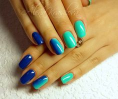 Blue and green nails, Bright summer nails, Club nails, Color transition nails, Fashion nails 2016, Iridescent nails, Long nails, Nails trends 2016
