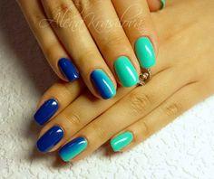 Blue and green nails, Bright summer nails, Club nails, Color transition nails, Fashion nails 2016, Iridescent nails, Long nails, Nails trends 2016