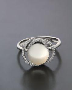 Δαχτυλίδι λευκόχρυσο Κ18 με Mαργαριτάρι & Ζιργκόν