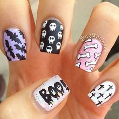 Pastel cute kawaii nails in pink purple black bats skulls boo cross Pastel Goth Nails, Goth Nail Art, Skull Nail Art, Purple Ombre Nails, Skull Nails, Gothic Nails, Pink Purple, Grunge Nails, Cute Halloween Nails