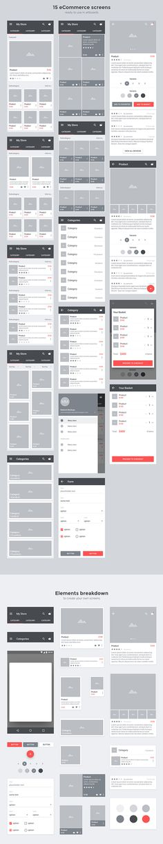 CARBON出品的APP界面UI线框图源文件下载[for Android5.0 Material]