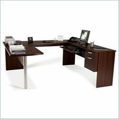 Bestar in-Space New Generation U-Shaped Workstation Kit in Mahogany Finish by Global Industrial. $514.47