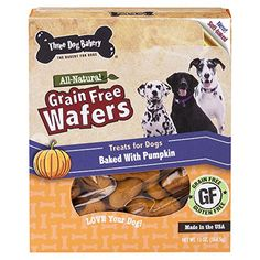 Three Dog Bakery Grain Free Wafers Baked Dog Treats Pumpkin 13 oz >>> Want additional info? Click on the affiliate link Amazon.com on image.