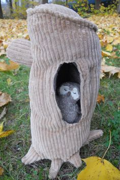 Owl Baby/Owl Chick and Tree Trunk Stuffed by WeeThingsFiberArts