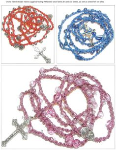 How to crochet a rosary -- using #9 nylon twine & glass beads