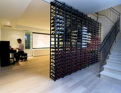 Here's another interesting way to store your wine. Once again, I have concerns about temperature stability and excessive light but it works well visually. It's from Ethan Carmel Architects.