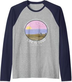 Amazon.com: Life Is Really Good Summer Beach Vacation Graphic Raglan Baseball Tee : Clothing, Shoes & Jewelry Blue Beach, Beach Day, Summer Beach, Mostly Sunny, Raglan Baseball Tee, Branded T Shirts, Beach Outfits, Fashion Brands