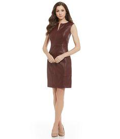 Antonio Melani Fine Leather King Zip Front Sleeveless Sheath Dress