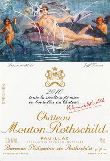 Chateau Mouton Rothschild has unveiled a wine label designed by controversial modernist artist Jeff Koons for its 2010 vintage. Jeff Koons, Pinot Noir, Mouton Rothschild, Wine News, Bordeaux Wine, Wine Label Design, French Wine, In Vino Veritas, Wine Cheese