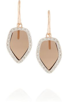 Monica Vinader Smokey Quartz and Diamond Earrings