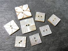 Carved Mother of Pearl Buttons VINTAGE MOP Buttons by punksrus