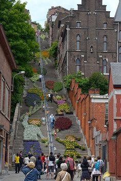 Stairs Montagne de Bueren in Liège (Luik), Belgium has 374 steps and is unique in Europe