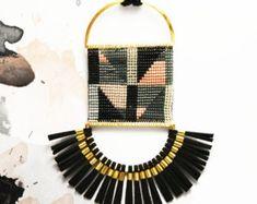 African beaded necklace Fringe necklace Ethnic necklace Woven necklace Beaded necklace Seed bead necklace Ethnic jewelry African style