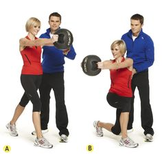 Split lunge to rotate, 15 each side x 3