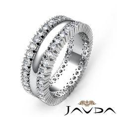 8mm Mens Wedding Solid Band Prong Diamond Eternity Ring 14k White Gold 1 90ct | eBay