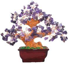 Feng Shui Gifts - Natural Amethyst Quartz Gem Stone Money Tree