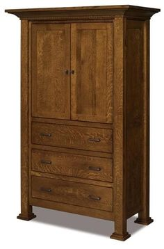 Amish Empire Three Drawer Armoire Wood armoire with 3 drawers made with solid wood in Indiana Amish country. Customize by choosing the wood and stain that match your bedroom best. #armoire #bedroomstorage