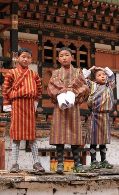 Paro Festival, Paro, Bhutan School boys wearing national dress, this is not for special occasion this is everyday Nepal, Paros, Bhutan, Shangri La, We Are The World, People Around The World, Tibet, World Festival, Folk Costume