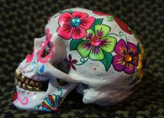 One of a Kind - Custom Painted with Crystals Day of the Dead Skull - MADE TO ORDER on Etsy, $85.00