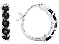 Black Spinel Sterling Silver Hoop Earrings