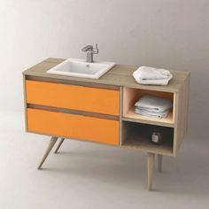 Meuble de salle de bain Cambrian 120 cm à poser, personnalisable, pour vasque encastrable, TropCoul