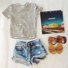 The recipe for a perfect Summer weekend look: striped tee, denim cut off shorts, sandals, and a classic record.