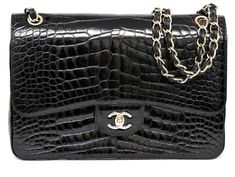 7937aed8e1b6c9 Guaranteed authentic Chanel 12A rare Black shiny Alligator coveted double  flap Jumbo classic.Accentuated with