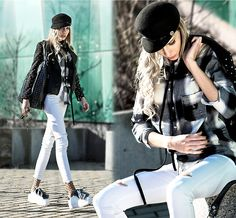 Get this look: http://lb.nu/look/8617199  More looks by Dora D.: http://lb.nu/dora_d  Items in this look:  Faux Leather Jacket, White Ripped Skinny Jeans, Lantadeli Paris Black Studded Shopper Bag, White Sneakers With Fur   #artistic #casual #street