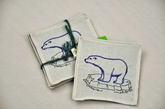 4 Eco Coasters Embroidered Polar Bear Ice by TheBuckeyeandtheFrog