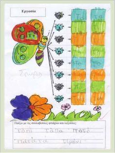 Φύλλα εργασίας αναλυτικοσυνθετικής μεθόδου για την πρώτη δημοτικού (h… Starting School, Kids Rugs, Education, Greek, Kid Friendly Rugs, Greek Language, Teaching, Onderwijs, Greece