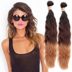Fashion New 100g/Bundle Ombre Natural Wave Real Human Hair Weft 3Tone Hair Weave #WIGISS #HairExtension