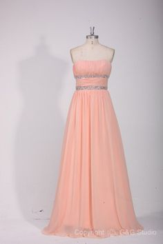 Pink Zipper Floor-length Empire Waist Sleeveless Long Formal Dresses