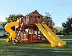 Fort Ticonderoga swing set is a massive redwood swingset! Available in a 6 foot or 7 foot deck height. Backyard Treehouse, Backyard Swing Sets, Outdoor Swing Sets, Backyard Trampoline, Kids Outdoor Play, Backyard For Kids, Treehouse Ideas, Indoor Play, Outdoor Toys