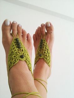 Green Barefoot Sandals Nude shoes Foot jewelry by ArtofAccessory, $15.00