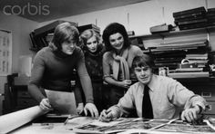 Christopher Holme, Gael Towey Dillon, Jacqueline Onassis and Bryan Holme (l to r) in the Studio Books Department at the Viking Press in New York .