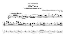 Sheet music for Turkish Rondo (Rondo Alla Turca; Turkish March) from Piano Sonata No. 11 by Wolfgang Amadeus Mozart, arranged for Flute solo. Free printable PDF score and MIDI track.