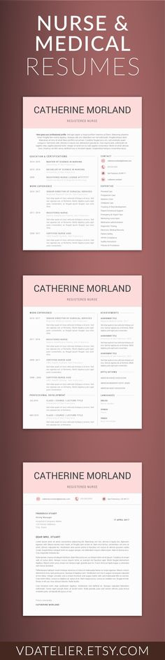 Medical Resume Template for Word, Nurse Resume Template Nurse CV - medical resume template