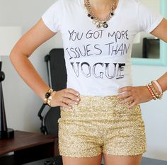 just add sparkly shorts! love this look for a #sevenly shirt