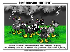 funny thunderstorms images | Warning: Thunder and lightning forecast | Just Outside the Box Cartoon