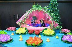 Lord Krishna boating with Radha