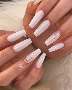 32 Lovely Jelly Nails Ideas That You Should Try! Coffin Nails Ombre, White Acrylic Nails, Aycrlic Nails, Summer Acrylic Nails, Best Acrylic Nails, Swag Nails, Black Nails, Coffin Acrylic Nails Long, Acrylic Nail Designs Coffin