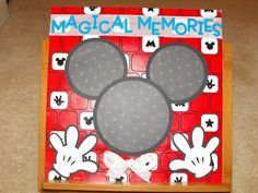 Disney World Scrapbook Page Layouts | Premade 12x12 Mickey Mouse Scrapbook Pages, Disney Memory Keepsake