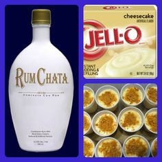 pudding shots ... RumChata Cheesecake Pudding Shots 1 small pkg. Cheesecake pudding (instant, not the cooking kind) ¾ Cup Milk ¾ Cup Rumchata 8oz tub Cool Whip Directions 1. Whisk together the milk, liquor, and instant pudding mix in a bowl until combined. 2. Add cool whip a little at a time with whisk. 3. Spoon the pudding mixture into shot glasses, disposable 'party shot' cups or 1 or 2 ounce cups with lids. Garnish with graham cracker crumbs if desired. Place in freezer for at least 2 hours