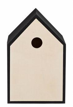 Bloomingville Vogelhuisje hout zwart/naturel creme 16x16x25cm
